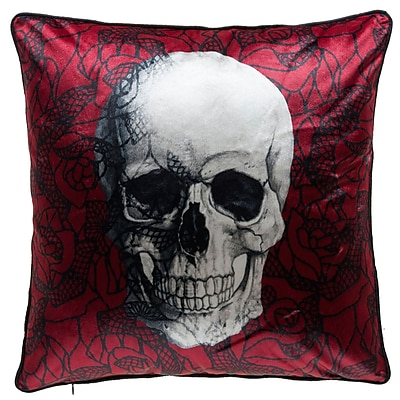The Holiday Aisle Scarlet Skull Throw Pillow