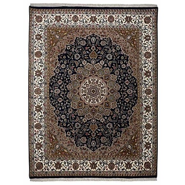 Bloomsbury Market Marathon Hand Knotted Isfahan Rectangle Flat Surface Rectangle Wool Blue Area Rug