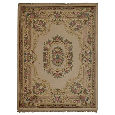 Astoria Grand Shephard Hand Knotted Aras Wool Beige Area Rug; 6'4'' x 9'7''