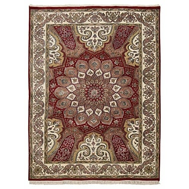 Astoria Grand Shephard Hand Knotted Isfahan Wool Red Area Rug; 8' x 11'3''