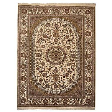 Astoria Grand Shephard Hand Knotted Isfahan Wool Cream Area Rug; 8' x 11'3''
