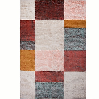 Ebern Designs Dufresne Geometric Brown/Red Area Rug; 1'5'' x 2'7''
