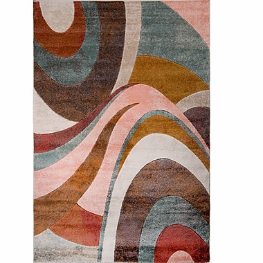 Ebern Designs Dufresne Brown/Red Area Rug; 5'2'' x 7'2''