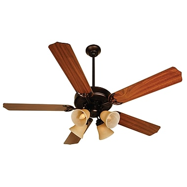 Charlton Home 52'' Palatine 5 Blade Fan; Oiled Bronze with Walnut Blades
