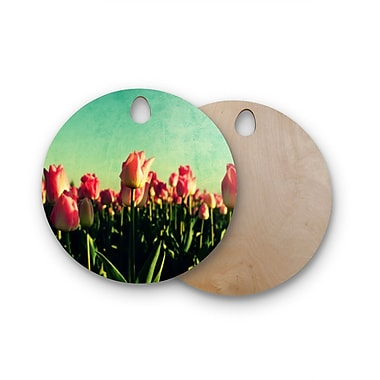 East Urban Home Robin Dickinson Birchwood How Does Your Garden Grow Flowers Cutting Board; Round