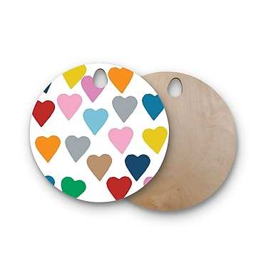 East Urban Home Project M Birchwood Hearts Cutting Board; Circle