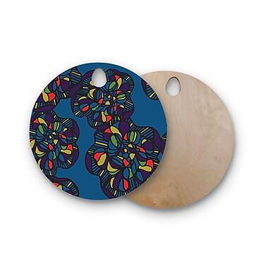 East Urban Home Sonal Nathwani Birchwood Mushroom Flower Pattern Cutting Board; Round