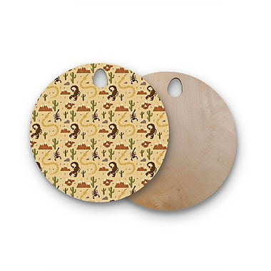 East Urban Home Stephanie Vaeth Birchwood Desert Life Illustration Cutting Board; Round