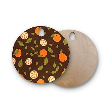 East Urban Home Strawberringo Birchwood Orange Pattern Abstract Food Cutting Board; Round