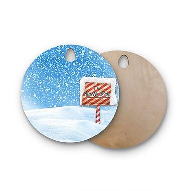 East Urban Home Snap Studio Birchwood North Pole Snow Cutting Board; Round