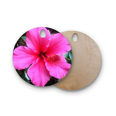 East Urban Home NL Designs Birchwood Tropical Hibiscus Floral Cutting Board; Round
