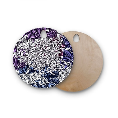 East Urban Home Nick Atkinson Birchwood Celtic Floral I Abstract Cutting Board; Round