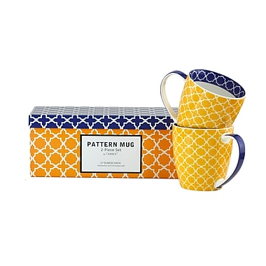 Tannex Pattern Mug Set with Gift Box, Yellow , Set of 4, 17oz