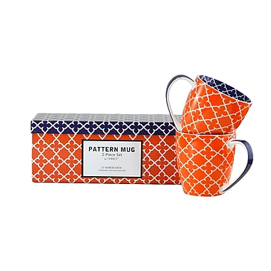Tannex Pattern Mug Set with Gift Box, Orange , Set of 4, 17oz