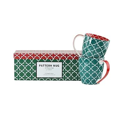 Tannex Pattern Mug Set with Gift Box, Green , Set of 4, 17oz