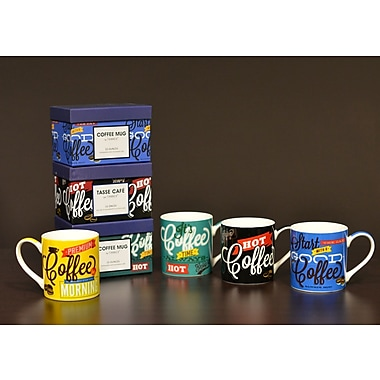 Tannex Coffee Themed Variety Mugs w/ Gift Box, Set of 4, 15oz