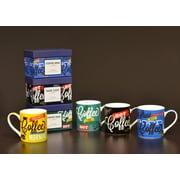 Tannex Coffee Themed Variety Mugs w/ Gift Box, Set of 4, 15oz