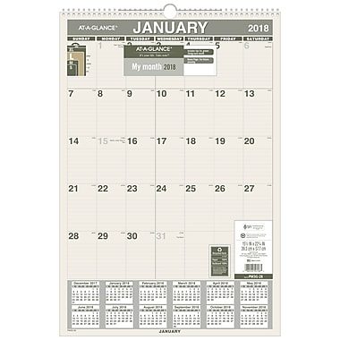 2018 AT-A-GLANCE® Monthly Wall Calendar, Recycled, January 2018-December 2018, 15-1/2