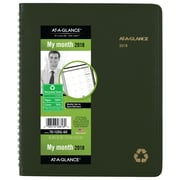 "2018 AT-A-GLANCE® Recycled Monthly Planner, 6-7/8"" x 8-3/4"", Wirebound, Green (70-120G-60-18)"