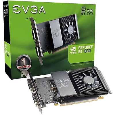 EVGA GeForce GT 1030 Graphic Card, 1.29GHZ Core, 1.54GHZ Boost Clock, 2GB GDDR5, Full-height, Single Slot Space Required