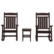 Gracie Oaks Vikram Classic Rocker 3 Piece Conversation Set; Chocolate
