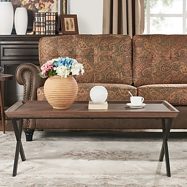 Gracie Oaks Kirti Rectangular Coffee Table; Brown Oak