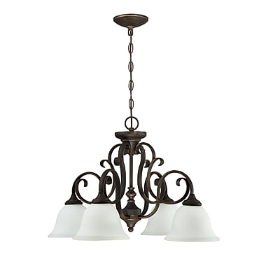 Fleur De Lis Living Chalfont 4-Light Shaded Chandelier; Metropolitan Bronze