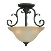 Fleur De Lis Living Chalfont 3-Light Semi Flush Mount; Mocha Bronze