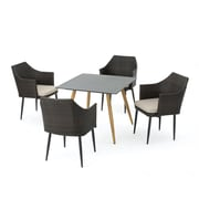 George Oliver Isaac Outdoor 5 Piece Dining Set w/ Cushions;  Brown