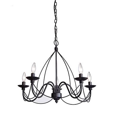 Gracie Oaks Randon 5-Light Candle-Style Chandelier; Black