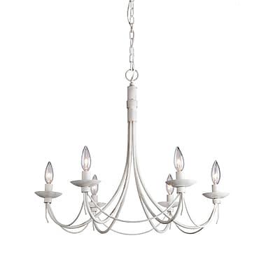 Gracie Oaks Randon 6-Light Candle-Style Chandelier; Antique White