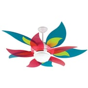 Harriet Bee 52'' Mississippi 5-Blade Fan; Translucent Teal/Green/Cherry