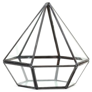Koyal Wholesale Diamond Geometric Table Glass Terrarium; Black