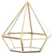 Koyal Wholesale Diamond Geometric Table Glass Terrarium; Gold