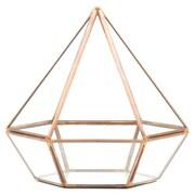 Koyal Wholesale Diamond Geometric Table Glass Terrarium; Rose Gold/Copper