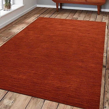 Latitude Run Ry Hand Knotted Loom Rectangle Wool Light Red Area Rug; 8' x 10'