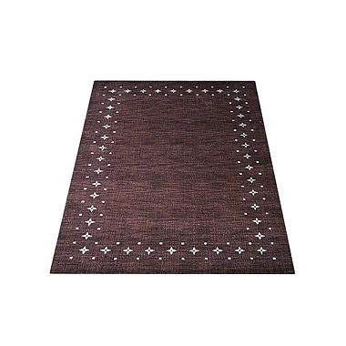 Latitude Run Ry Hand Knotted Loom Rectangle Wool Brown Area Rug; 6' x 9'