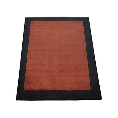 Latitude Run Ry Hand Knotted Loom Wool Red/Black Area Rug; 8' x 11'