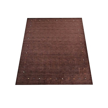 Latitude Run Ry Hand Knotted Loom Flat Surface Wool Brown Area Rug; 6' x 9'