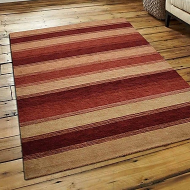 Latitude Run Ry Hand Knotted Loom Wool Gold Red Area Rug; 9' x 12'