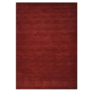 Latitude Run Ry Hand Knotted Loom Rectangle Wool Dark Red Area Rug; 10' x 13'