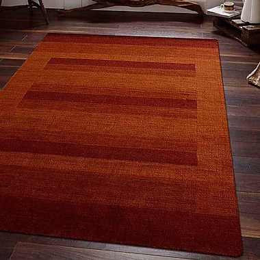 Latitude Run Ry Hand Knotted Loom Wool Rust Area Rug; 8' x 10'