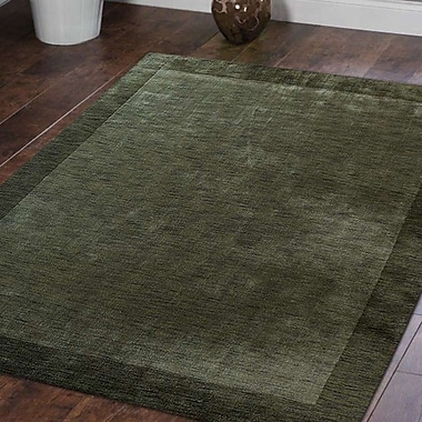 Latitude Run Ry Hand Knotted Loom Wool Green Area Rug; 8' x 10'