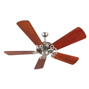 Longshore Tides 52'' Emory 5-Blade Fan; Brushed Satin Nickel with Cherry Blades