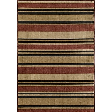 Winston Porter Greenbaum Stripe Red/Beige/Black Indoor/Outdoor Area Rug; 6'7'' x 9'6''