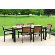 Orren Ellis Katreesha Modern Outdoor Dining Set; Gloss Silver/Driftwood