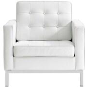 Orren Ellis Gayatri Leather Armchair; White