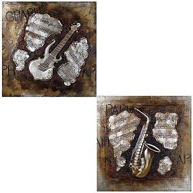 Red Barrel Studio 'Guitar' 2 Piece Oil Painting Print Set
