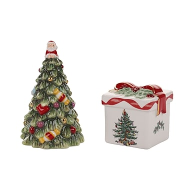 Spode Christmas Tree Figural 2 Piece Tree and Gift Box Salt and Pepper Set