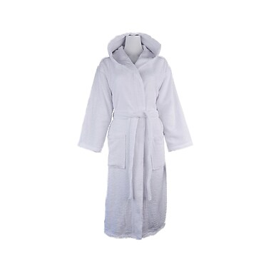 Lunasidus Luxury 100pct Turkish Cotton Light-Weight Hooded Terry Bathrobe; Large/Extra Large